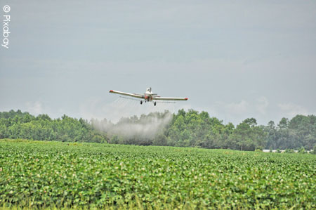 avion pulvérisant des pesticides
