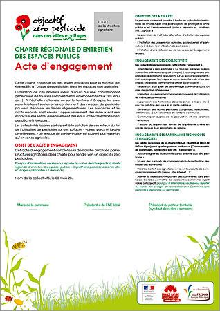 modèle de l'acte d'engagement des collectivités dans la charte Objectif Zéro Pesticide